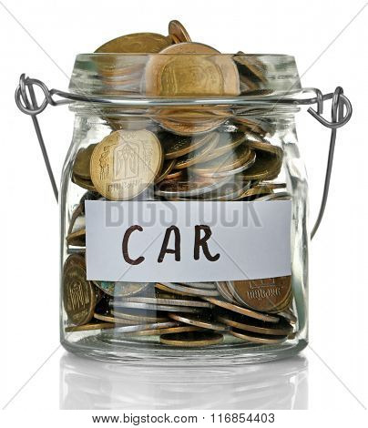 Glass jar with Ukrainian coins for car, isolated on white
