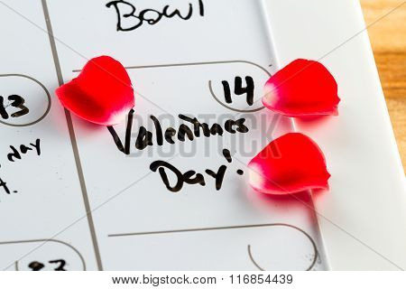 Valentines Day Marked On A Calendar