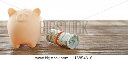 Piggy bank with rolled dollars isolated on white