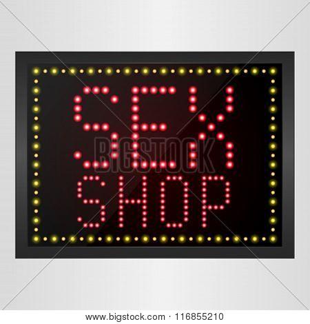 Shining retro light banner Sex Shop Sign