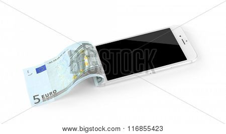 Smart phone with euro banknote, isolated on white. Telephone charges