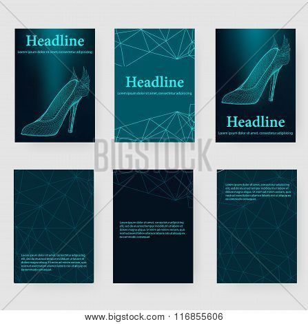 Abstract Creative concept vector background of the shoes. Polygonal design style letterhead