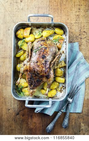 Roast Duck with Apple and Potatoes