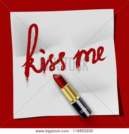 White notepad kiss me and Lipstick on red background