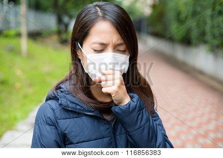 Asian woman wearing face mask