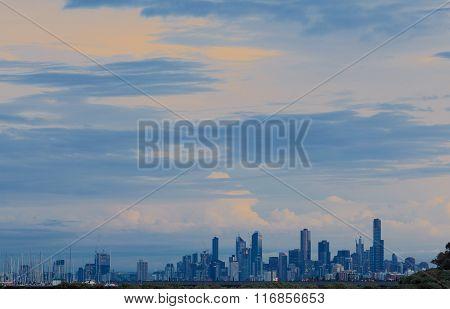 Melbourne Skyline At Sunrise