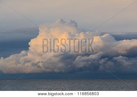 Low Dramatic Storm Clouds Over Sea Water