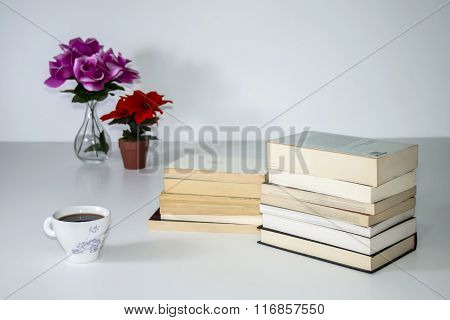 Beautiful Reading Still Life Over White Background