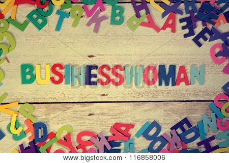 Business Woman Word Block Concept Photo On Plank Wood
