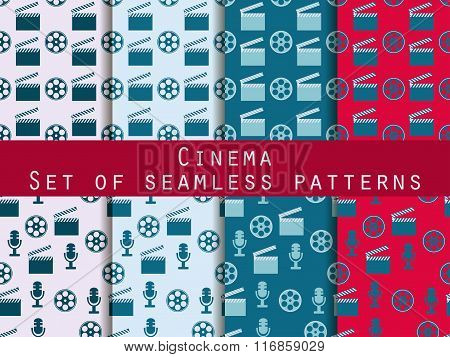 Film Reel And Clapper Board. Set Of Seamless Patterns. The Pattern For Wallpaper, Tiles, Fabrics And