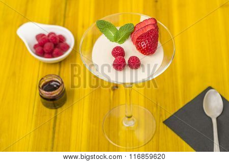 Panna Cotta With Strawberry Mousse.