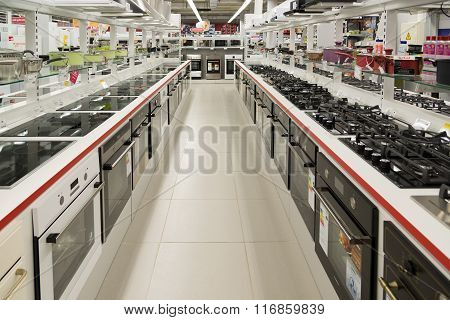 Moscow Russia - February 02. 2016. cookers in Eldorado is large chain stores selling electronics