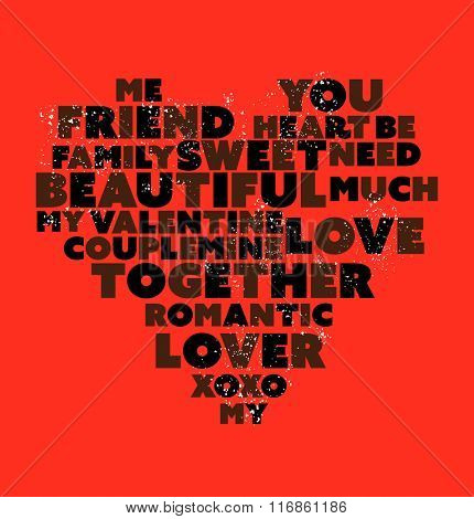 A heart made of words on red background