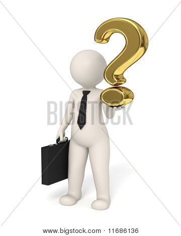 3D Business Man Holding A Gold Question Mark