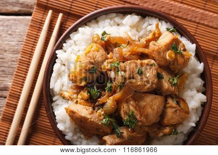 Japanese Oyakodon And Rice Close-up In A Bowl. Horizontal Top View