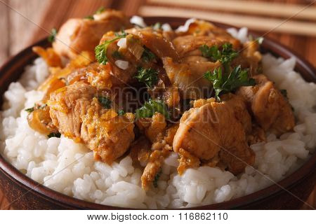 Japanese Food: Oyakodon With A Rice In A Bowl Macro. Horizontal