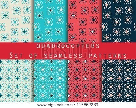 Quadrocopter, Drone. Unmanned Aerial Vehicle. Set Of Seamless Patterns. Pattern For Wrapping Paper,