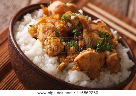 Japanese Cuisine: Oyakodon With Rice In A Bowl Close Up. Horizontal