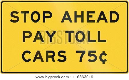 United States Mutcd Road Sign - Stop Ahead - Pay Toll