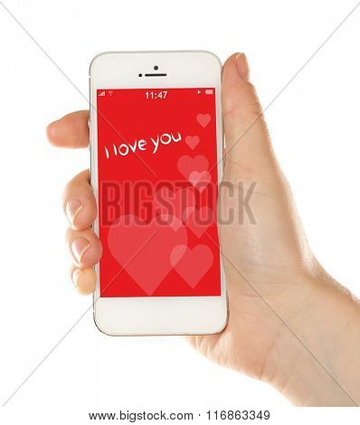 Hand holding smart phone with romantic screensaver isolated on white