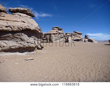 Famous Rock Formation Arbol De Piedra In Bolivian Altiplano Desert