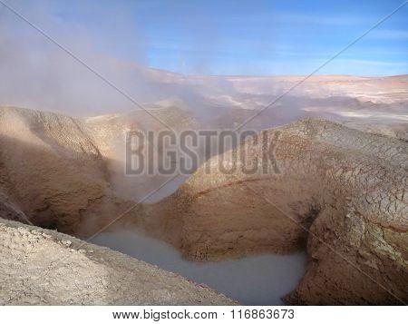 Geyseyr Sol De Manana At Bolivian Altiplano