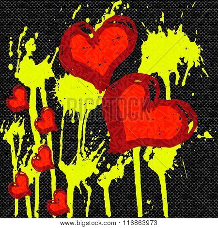 Red Hearts Abstract Pattern Graffiti On A Black Background