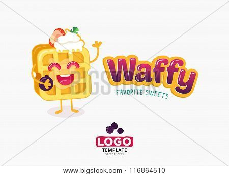 Vector food logo design. Belgium waffles with ice cream and strawberries isolated on white backgroun