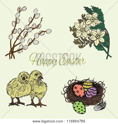 Hand Drawn Colourful Easter Set