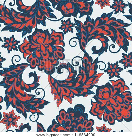 Asian flowers seamless pattern. Floral vector background.