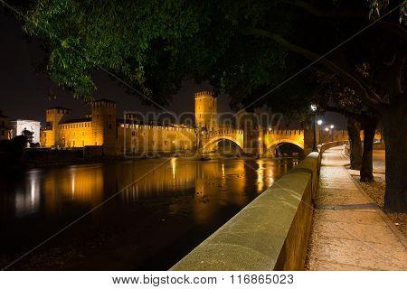 Nightview Of Castelvecchio Of Verona