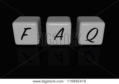 FAQ dices, black background