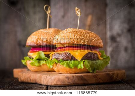 Closeup Of Home Made Burgers