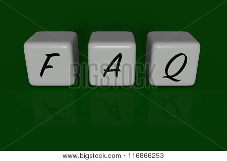 FAQ dices, dark green background
