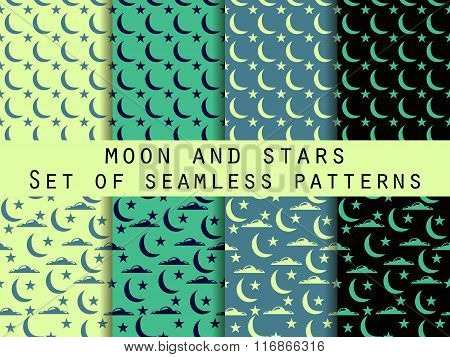 Moon, Stars And Clouds. Set Seamless Patterns The Pattern For Wallpaper, Bed Linen, Tiles, Fabrics,