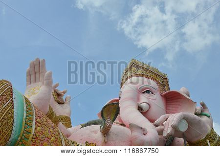 elephant head god in pink on Buddhist temple