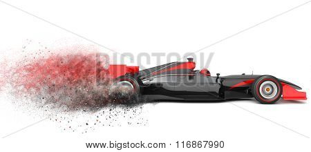 Black Sport Car With Trail Of Dust