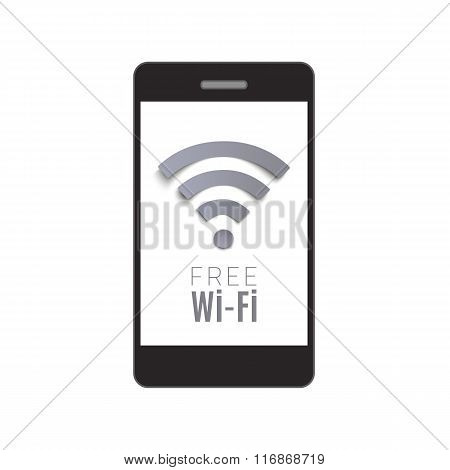 Smart phone with Free Wi-Fi symbol.