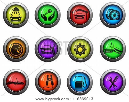 Car service icons set