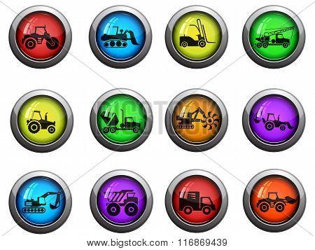 Construction Machines icons set