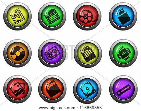 Information carriers icons set