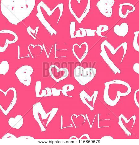 Vector Seamless Pattern. White Hand Drawn Heart Symbols And The Word Love On A Pink Background. Patt