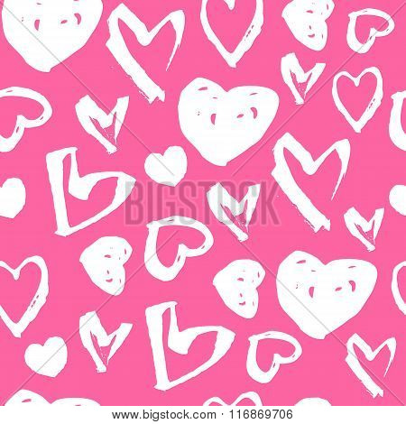 Vector Seamless Pattern. White Hand Drawn Heart Symbols On A Pink Background. Pattern For Valentine'