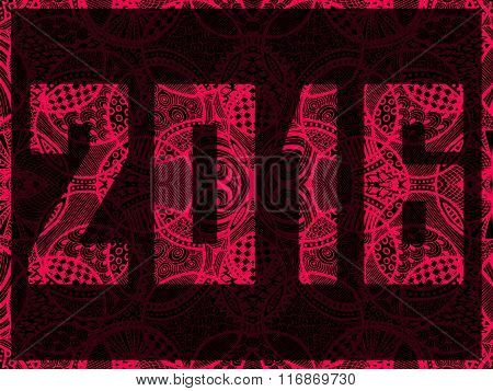 New Year 2016 Zentangle Abstract Background Pink Red