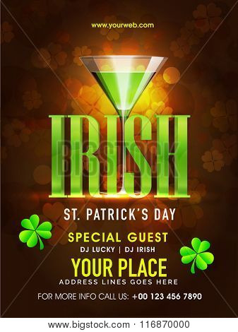 St. Patrick's Day celebration pamphlet, banner or flyer design with stylish text Irish and green beer in glass on shiny brown background.