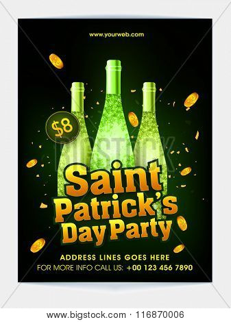 Creative pamphlet, banner or flyer design with illustration of champagne bottles for St. Patrick's Day Party celebration.