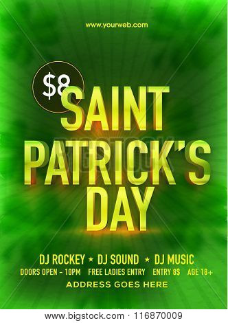 Creative green pamphlet, banner or flyer design for Happy St. Patrick's Day Party celebration.