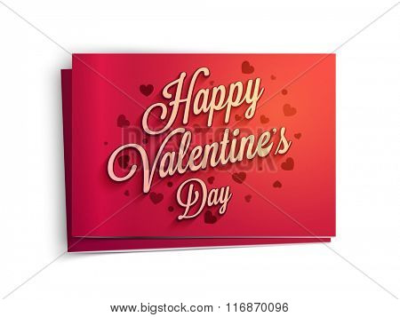 Beautiful glossy greeting card design decorated with hearts for Happy Valentine's Day celebration.