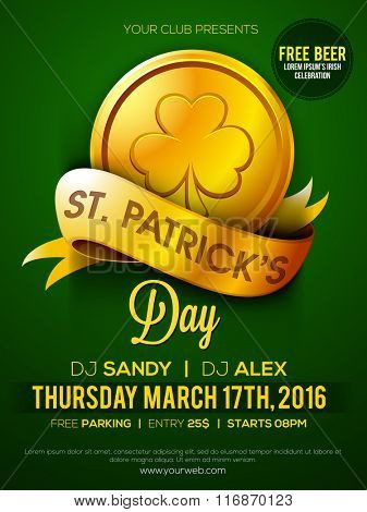 Glossy gold coin and ribbon decorated, Pamphlet, Banner or Flyer design for St. Patrick's Day Party celebration.