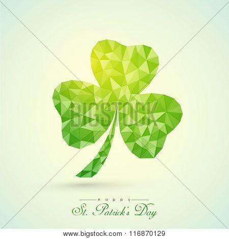 Creative origami Shamrock Leaf on shiny background for Happy St. Patrick's Day celebration.